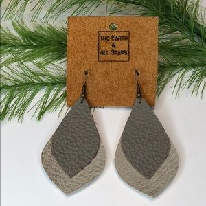 NWT! Recycled leather earrings gray feather shape